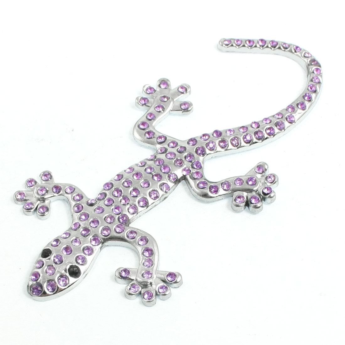 Car Purple Rhinestone Decor Silver Tone Metal Gecko Style Sticker