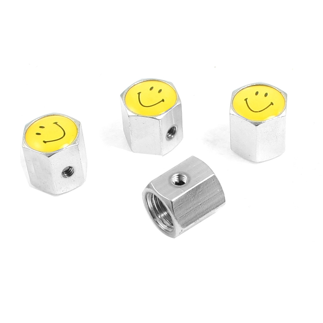 4 Pcs Silver Tone Yellow Smiling Face Pattern Car Tyre Tire Valve Cap Cover