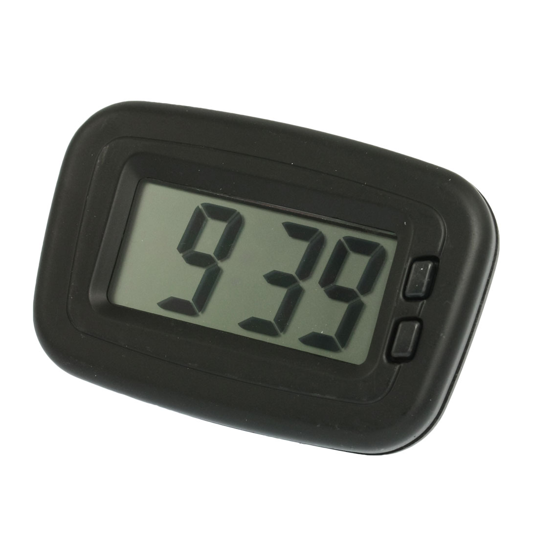 Car Plastic Case 2 Button Adhesive Base LCD Display Digital Clock Black