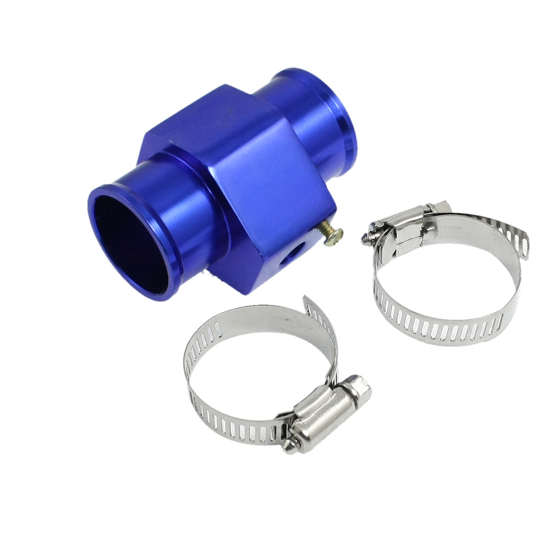 28mm Water Temperature Radiator Hose Joint Pipe Blue w Stainless Steel Clamps