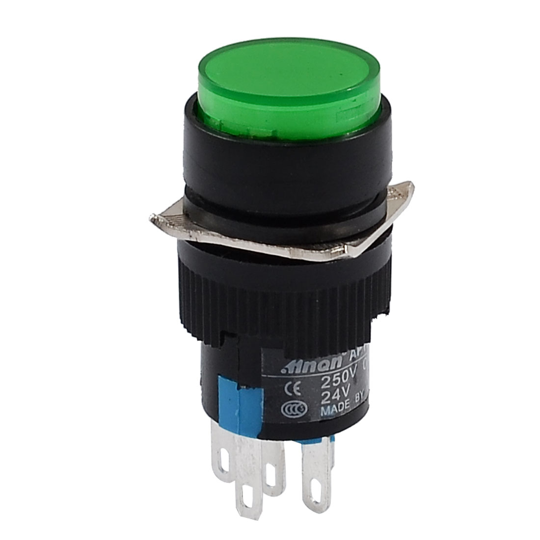 DC 24V Green Cap Self-locking Press Button Push Switch w Light