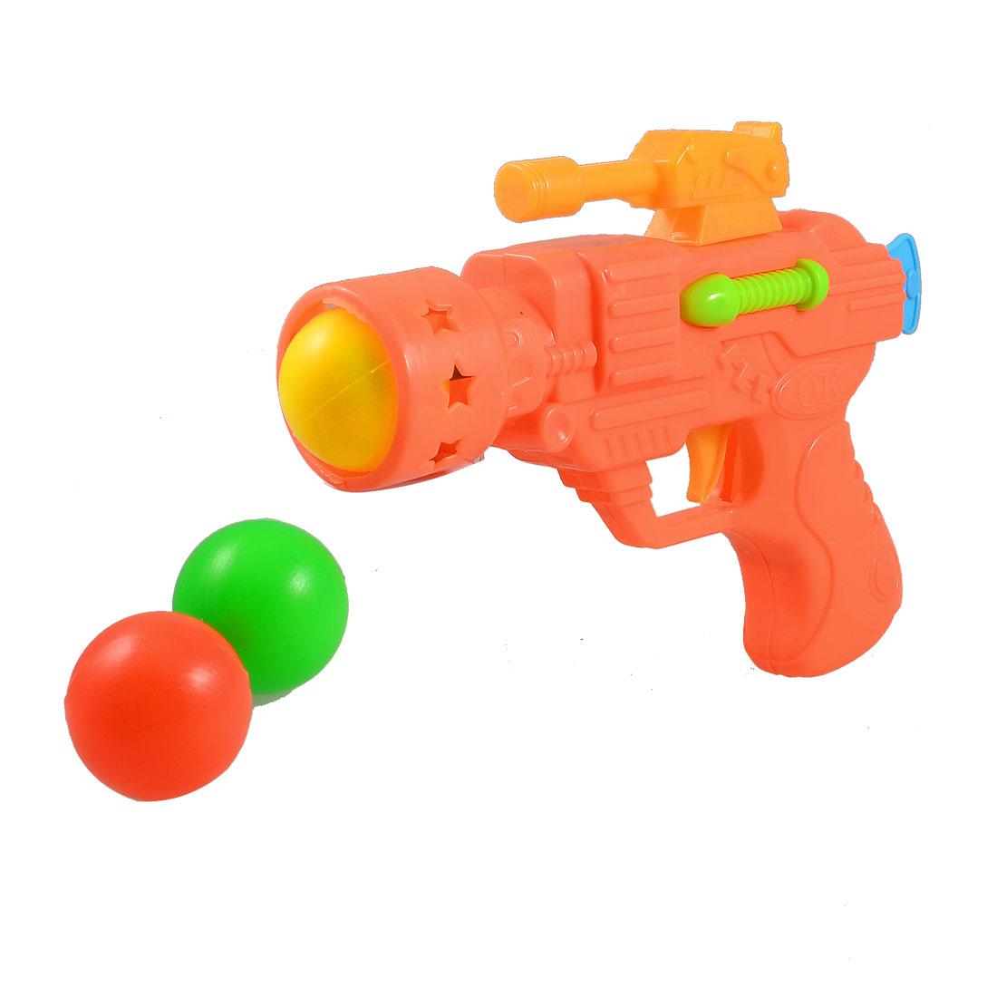 Children Kids Orange Red Plastic Gun Fight Toy w 3 Pcs Balls
