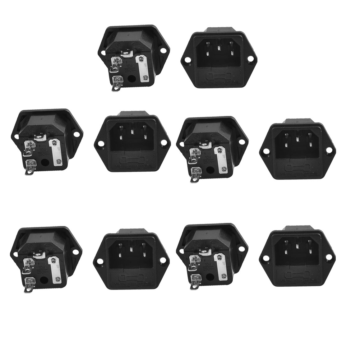 10 Pcs Fuse Holder IEC 320 C14 Inlet AC Power Entry Socket 10A 250V