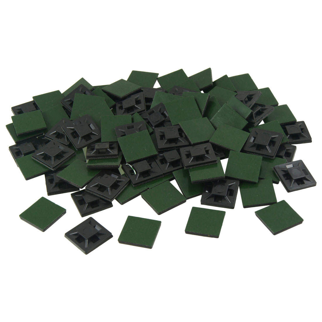 100 Pcs 20mm x 20mm x 4mm Self Adhesive Cable Tie Mount Base Holders Black