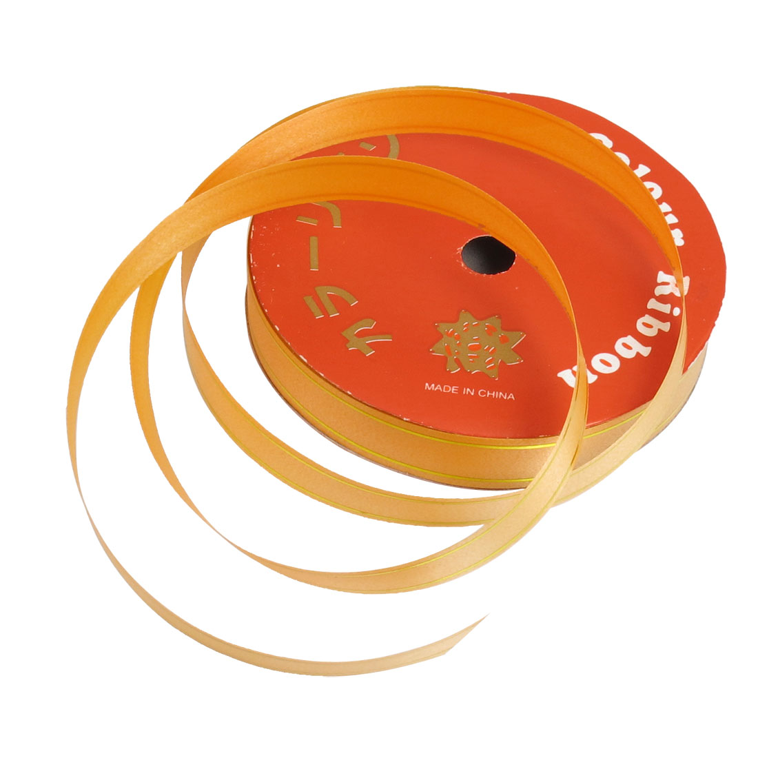 Gift Wrap Dual Gold Tone Edge Decor Orange Ribbon Roll