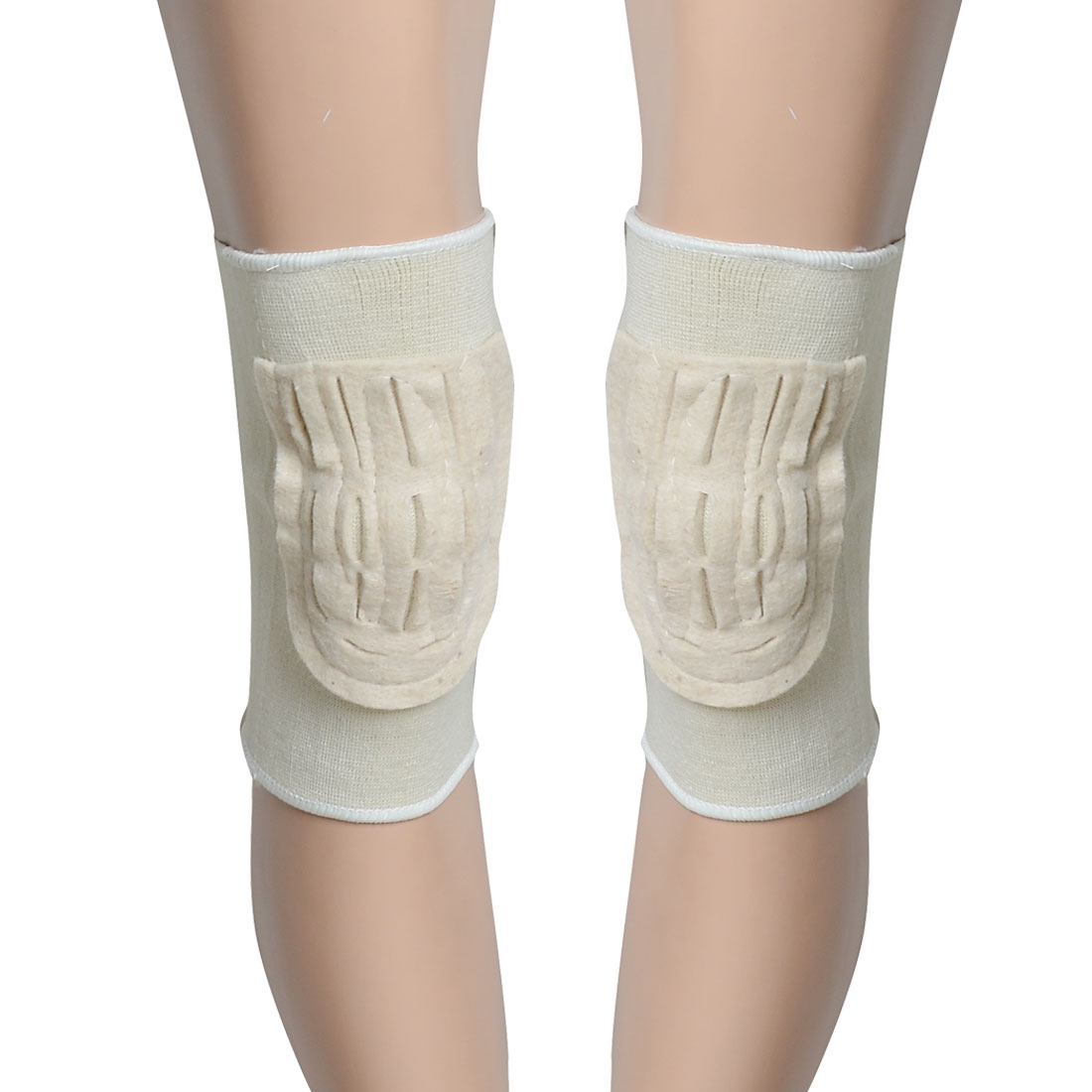 2 Pcs Beige Fleece Padded Elastic Knee Protector Support