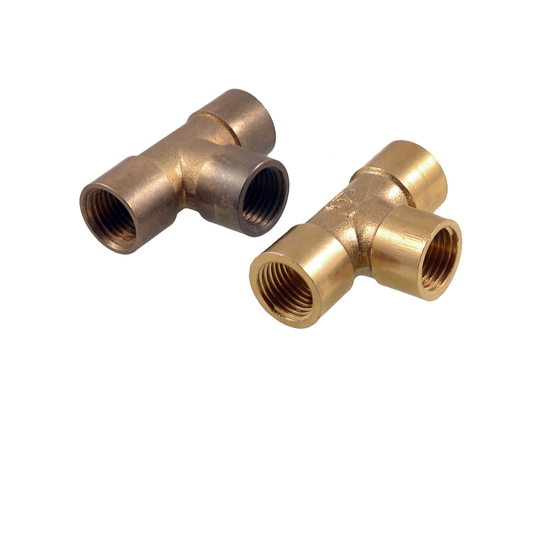 "2 Pcs G 1/4"" Thread Size 3 Way Water Hose Female Pipe Tee Connector Gold Tone"