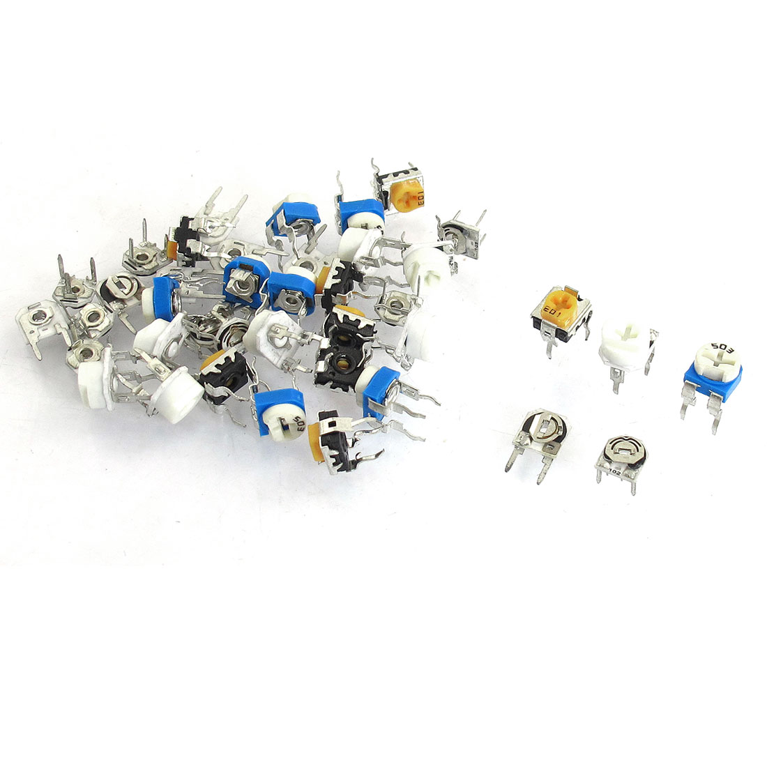 40 Pcs 1k 10k 20k 50k 200ohm Pots Potentiometer Adjustable Resistors