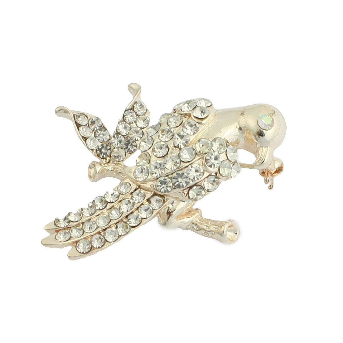 Lady Rhinestone Decor Bird Shape Metal Brooch Silver Tone