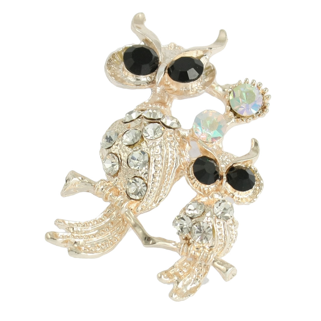 Lady Rhinestone Decor Double Owls Shape Metal Brooch Gold Tone
