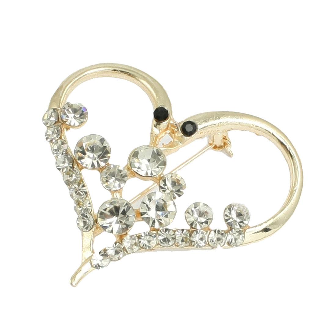 Lady Rhinestone Decor Heart Shape Metal Brooch Gold Tone