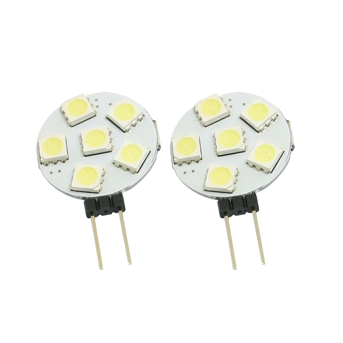 2 Pcs Side Pin G4 White 5050 SMD 6-LED Bulb Light Dashboard Lamp