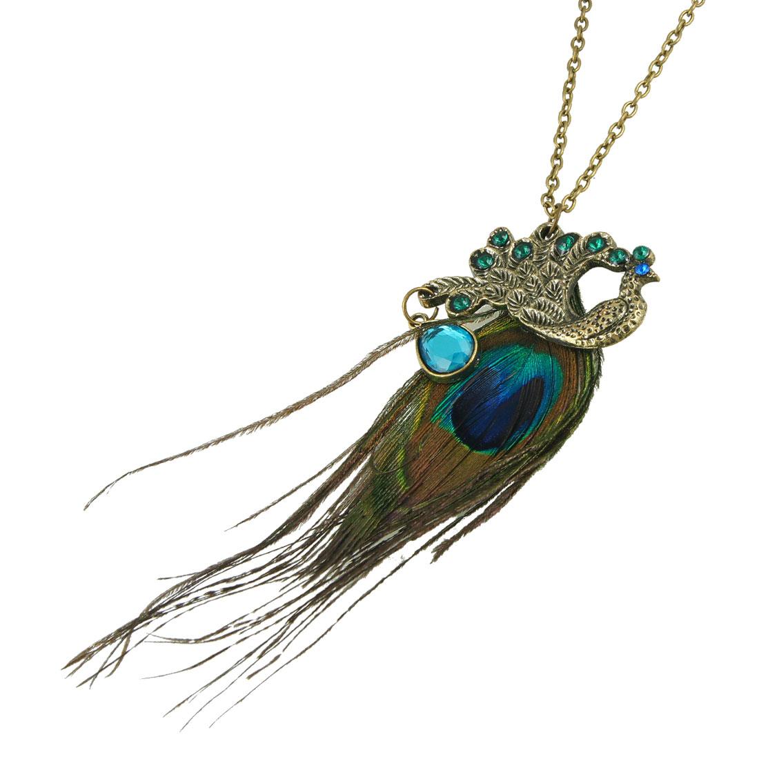 Bronze Tone Phoenix Faux Feather Design Pendant Long Chain Sweater Necklace