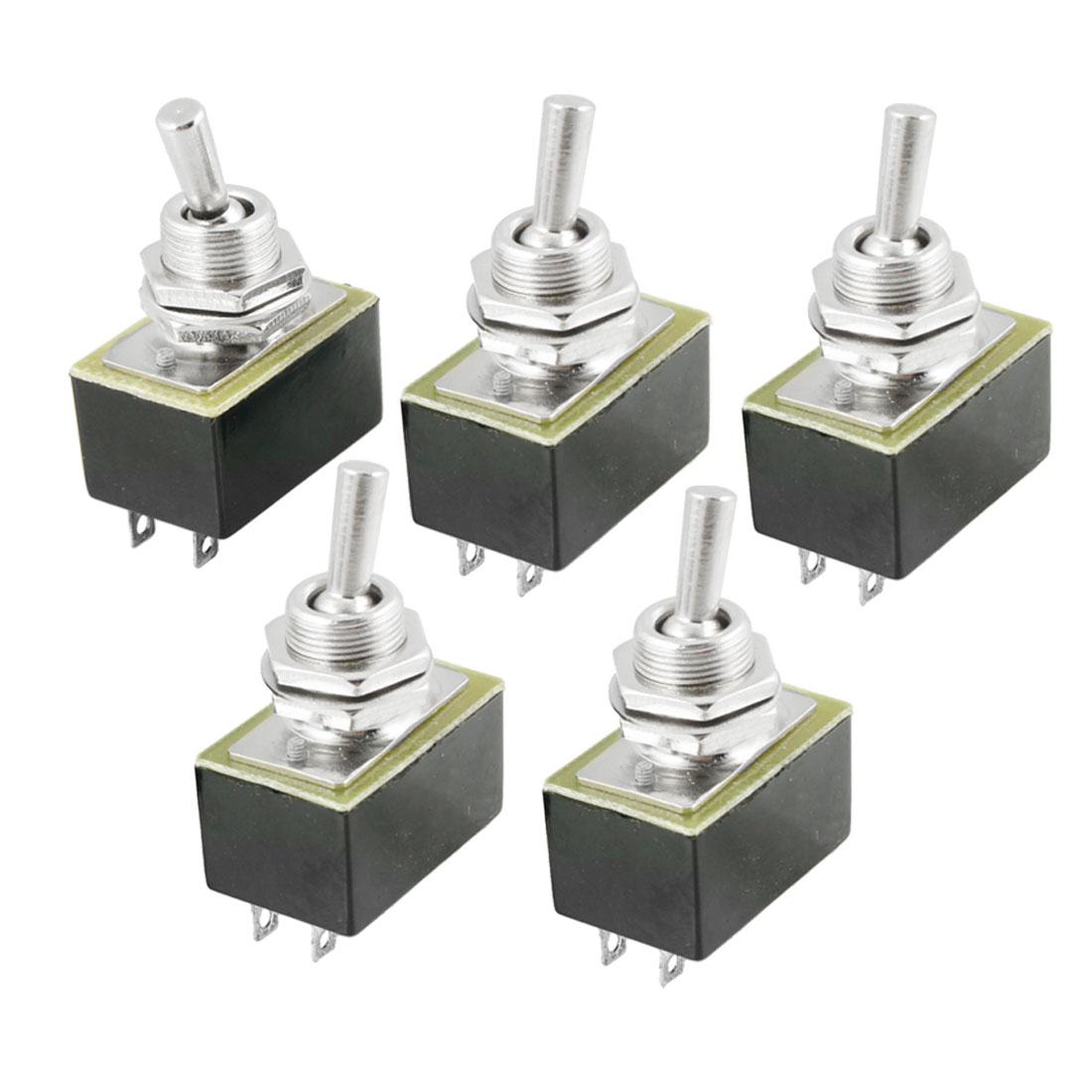 AC 220V/3A 110V/6A ON/OFF 2 Position SPST Toggle Switch 5 Pcs