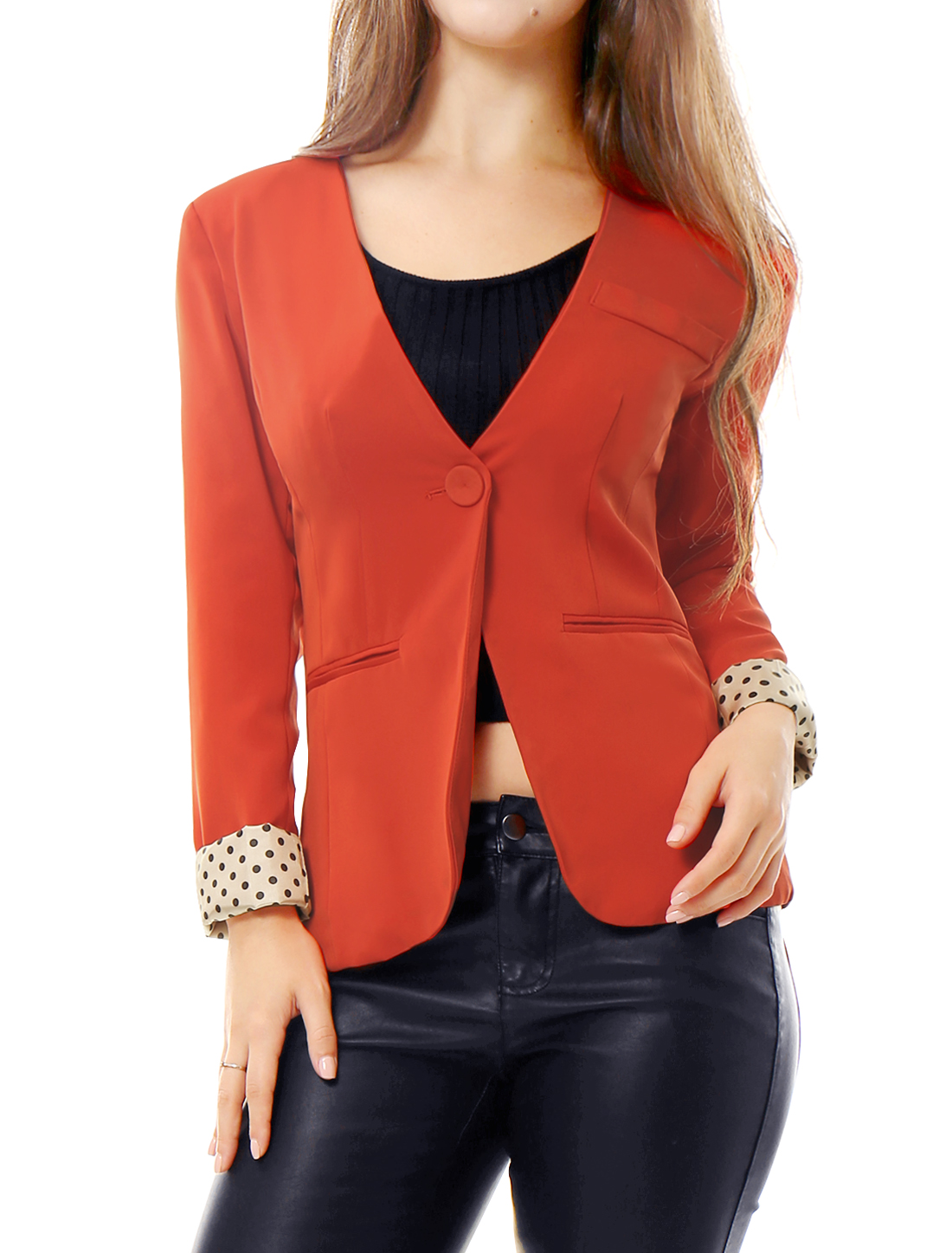 Woman Orange Dots Interior Solid Color Fake Pockets One Button Autumn Blazer S