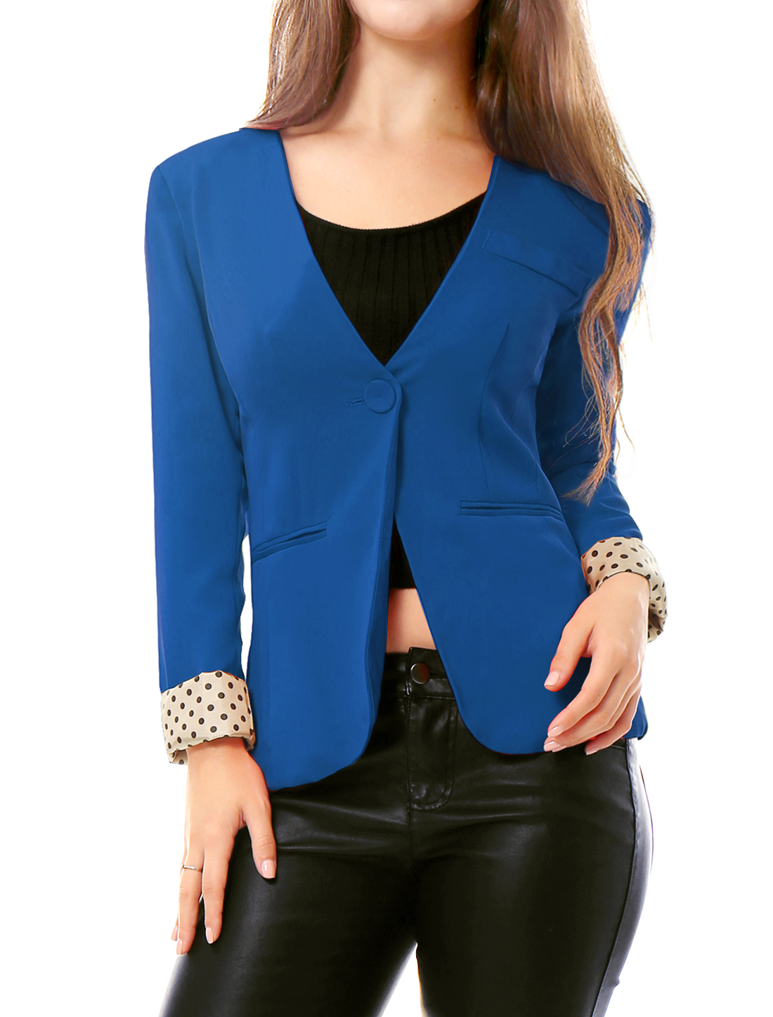 Ladies Blue Padded Shoulder Solid Color Fake Pockets Simple Fall Blazer L