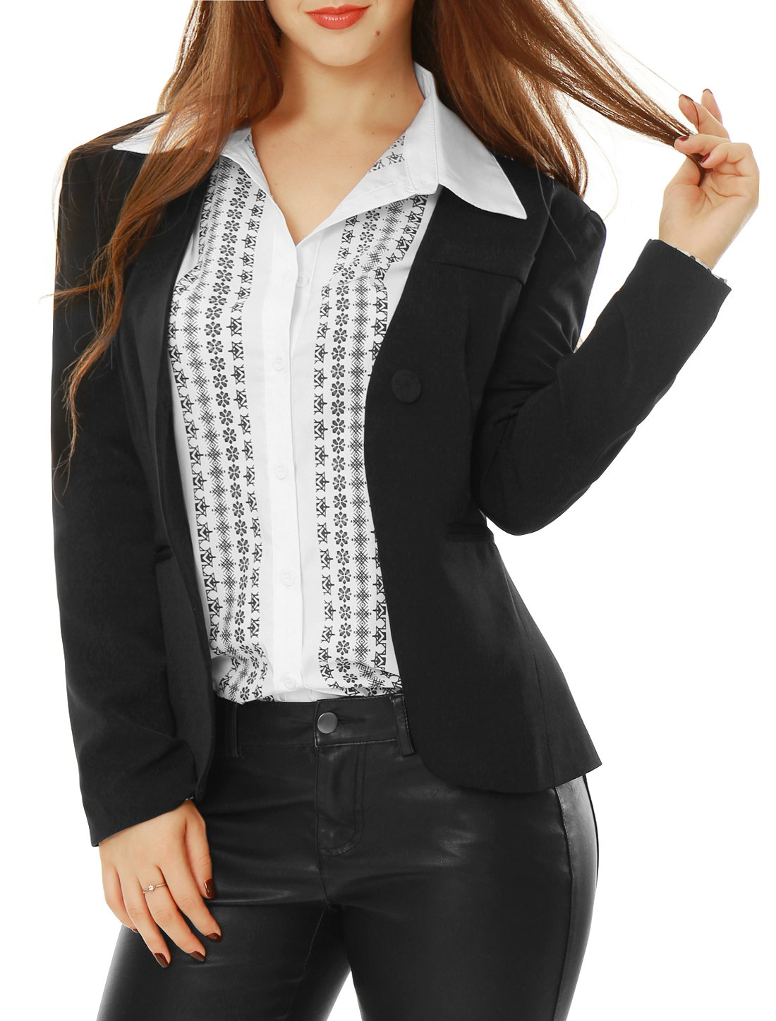 Lady Black Single Button Fastening Long Sleeve Solid Color Casual Blazer L