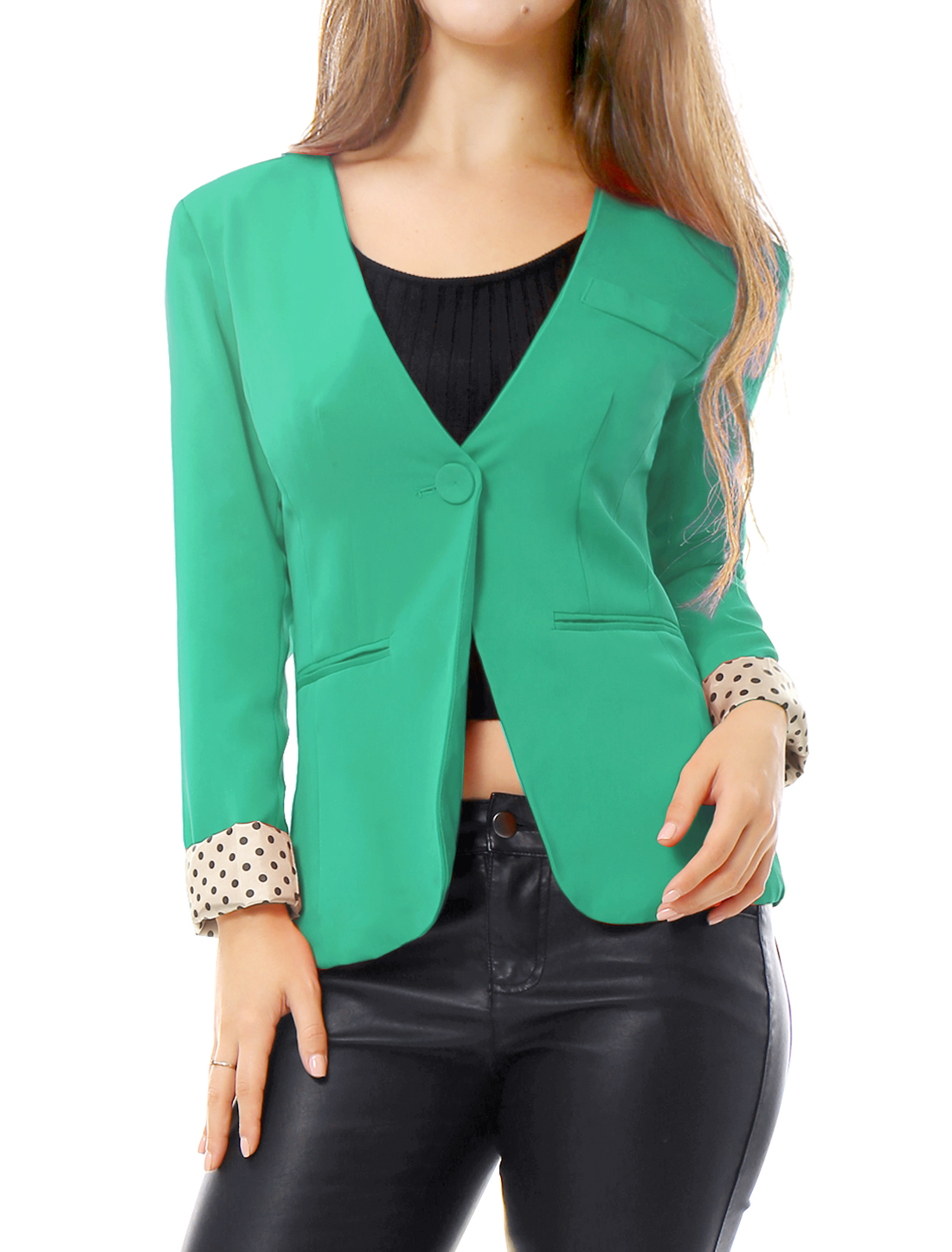 Women Green Three Fake Pockets One Button Front Dots Insert Casual Blazer S