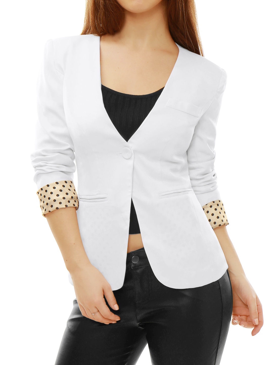 Woman White Deep V Neck One Button Front Dots Insert Padded Shoulder Blazer S