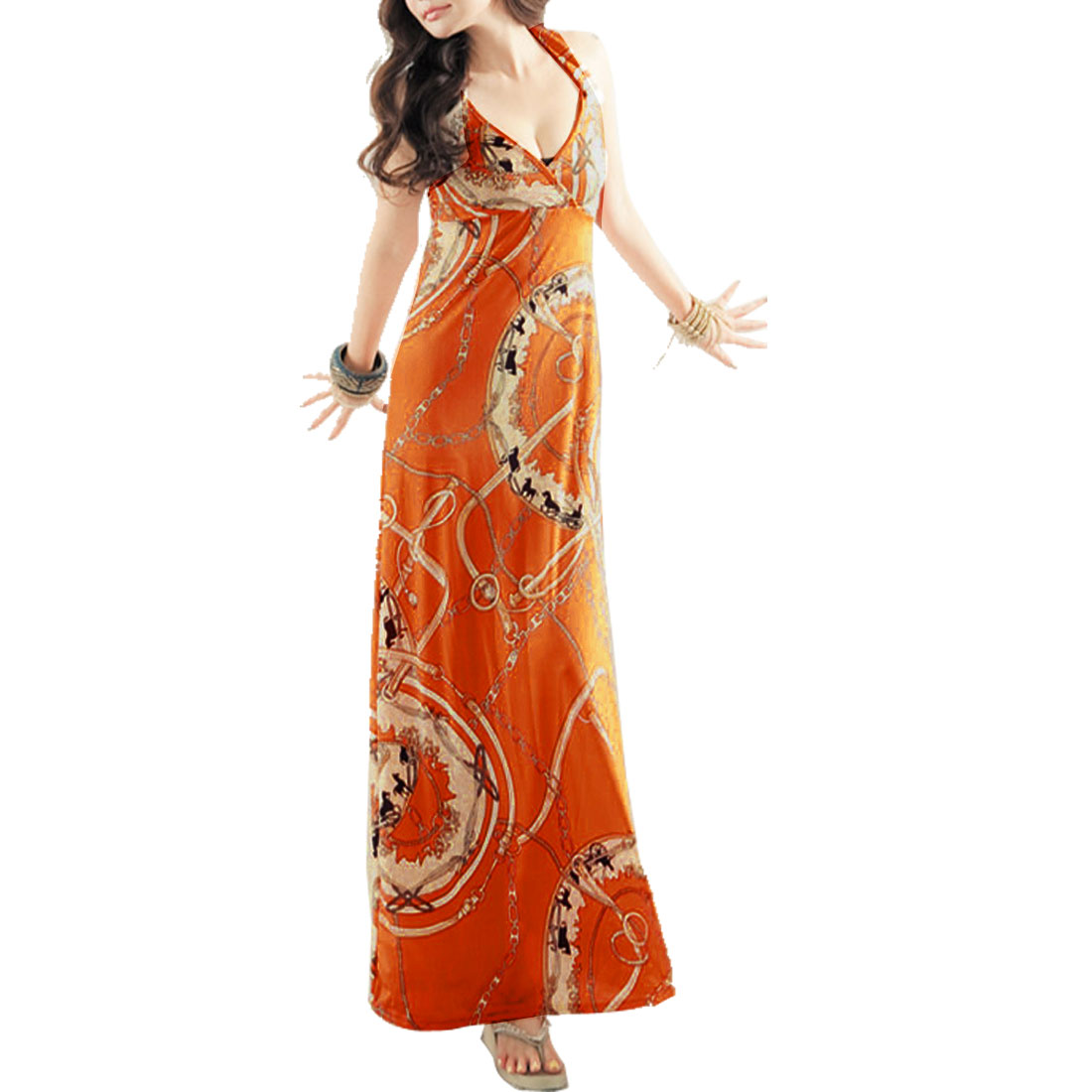 Orange Sleeveless Elastic Chain Printed Adjustable Strap Dress for Women XS