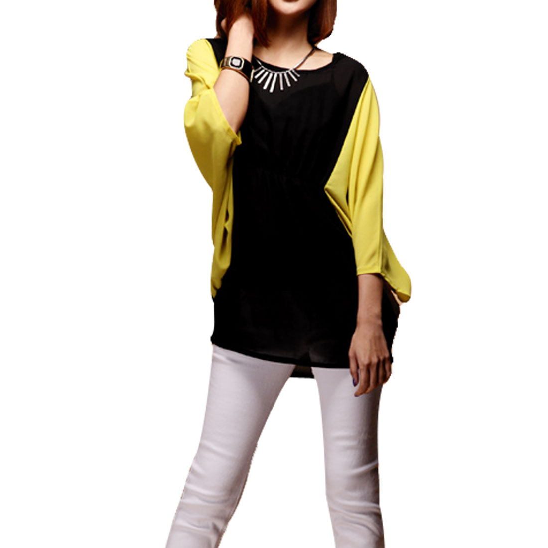 Black Colour Block Scoop Neck Batwing Sleeve Chiffon Blouse Tops for Ladies XS