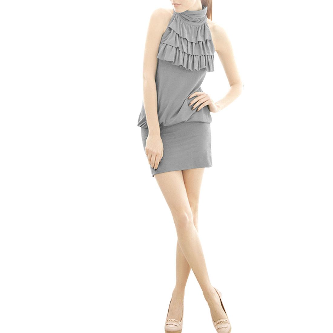Lady Turtle Neck Pleated Sleeveless Formfitting Mini Dress Gray XS