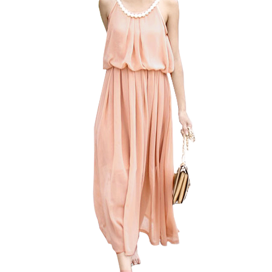 Light Pink Elastic Waist Full Length Cocktail Party Chiffon Dress for Ladies S