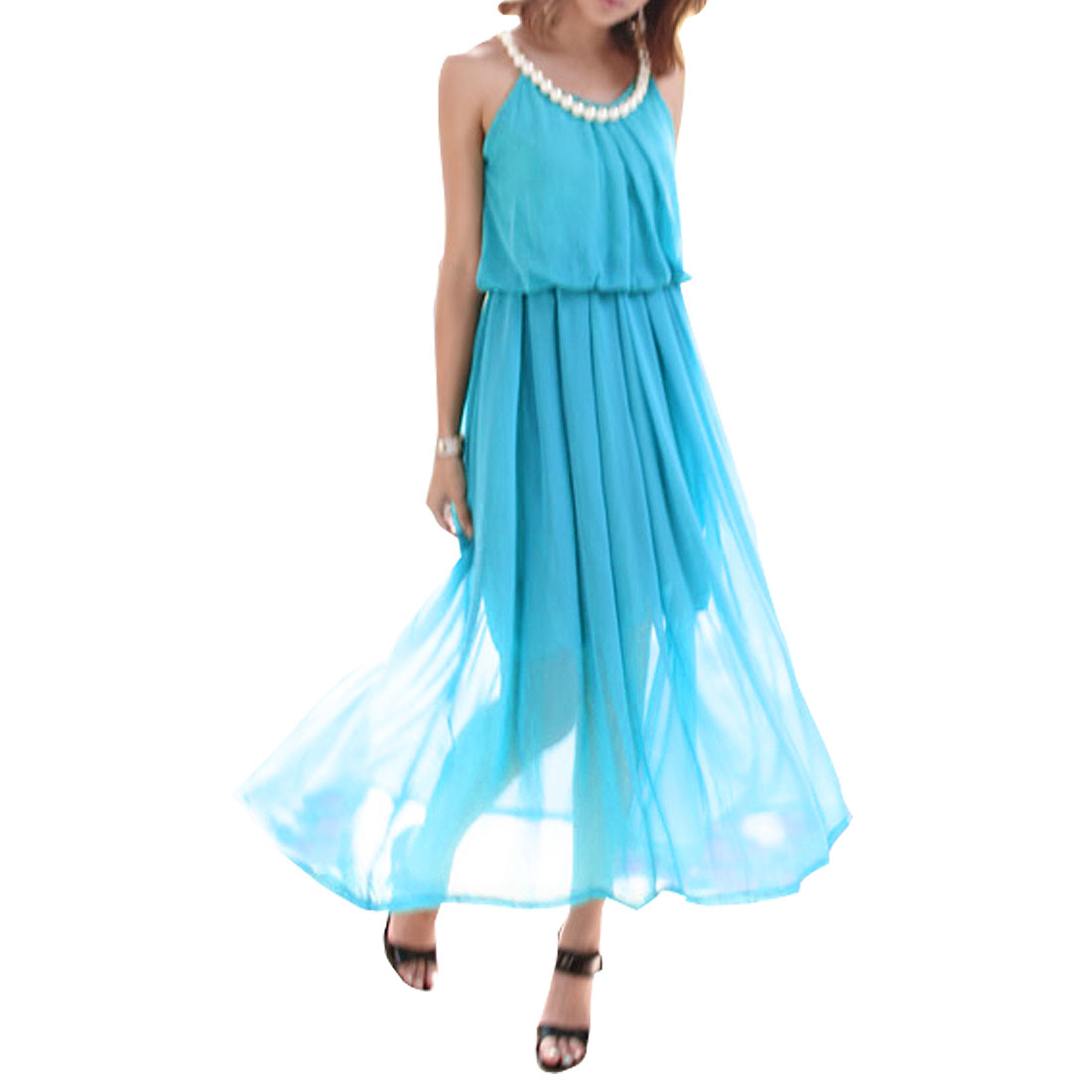 Ladies Blue Summer Plastic Pearl Detail Full Length Cocktail Chiffon Dress S