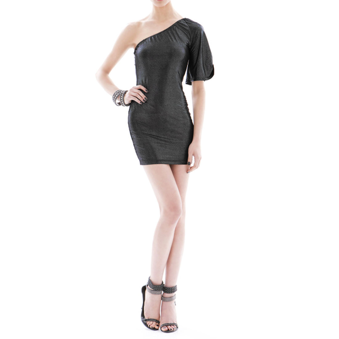 Black Glittery Single Shoulder Formfitting Clubwear Mini Dress for Ladies XS