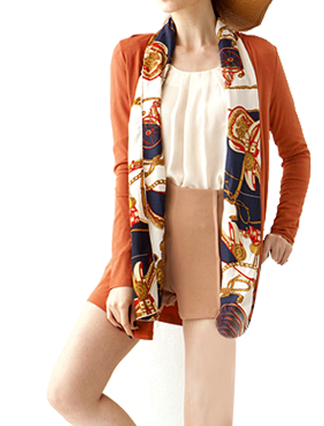 Ladies Printed Shawl Draped Open Front Buttonless Coat Orange XS