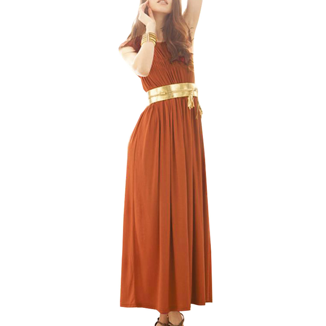 Woman Elastic Round Neck Pleated Ankle Length Tank Dress Orange XS