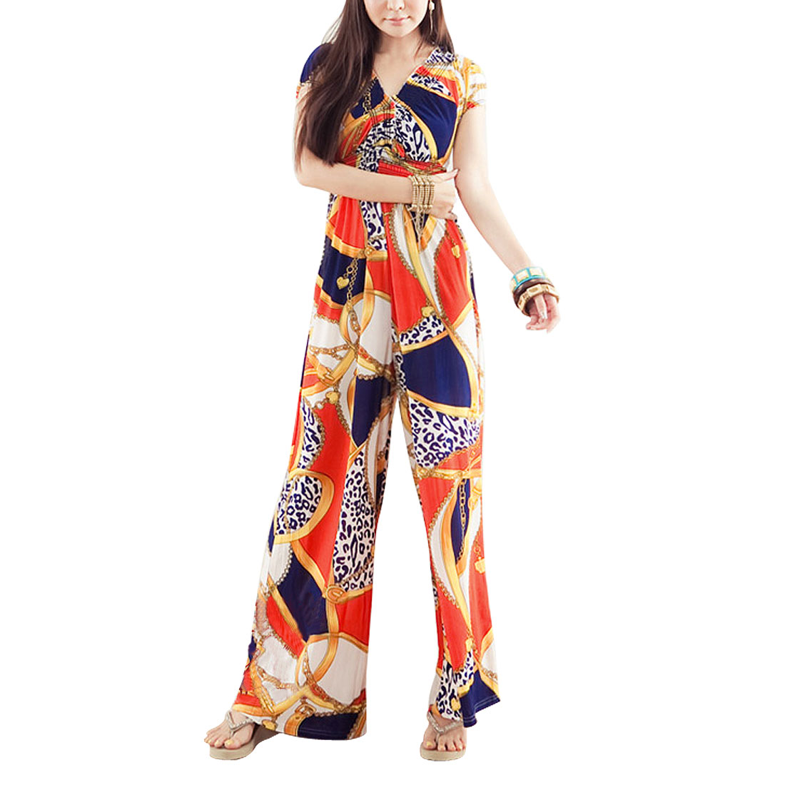 Orange Chain Pattern Full Length Cap Sleeve Elastic Wasit Jumpsuit for Ladies XS