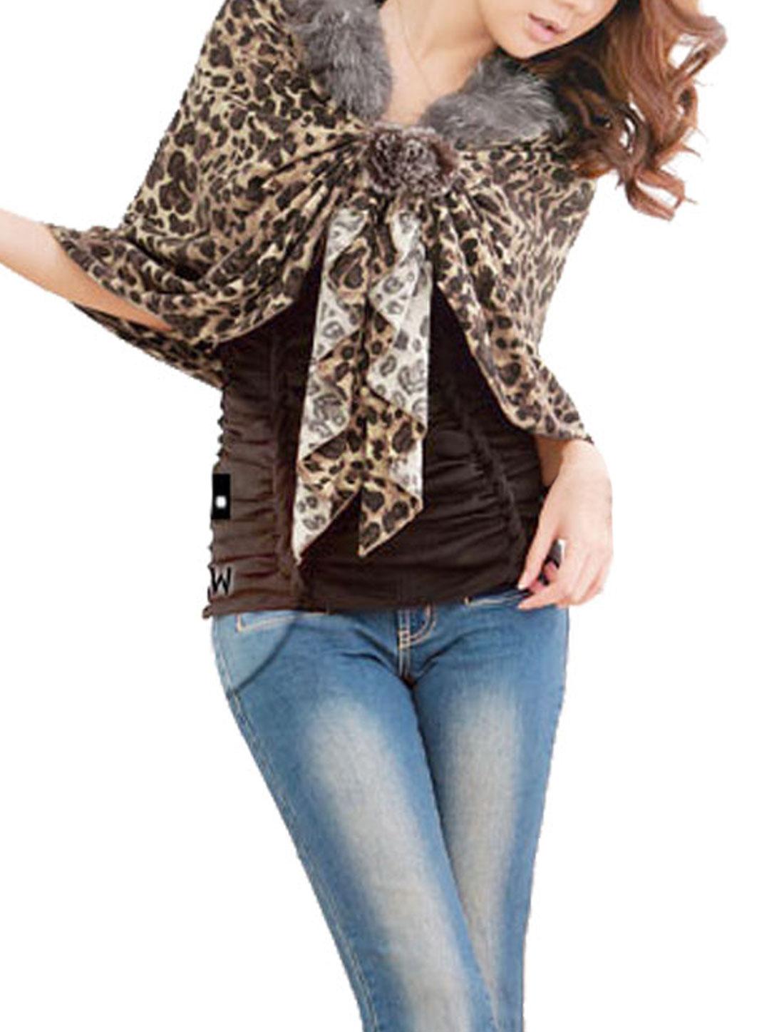 Brown Faux Fur Detail Leopard Pattern Self Tie Autumn Shrug Bolero for Ladies XS