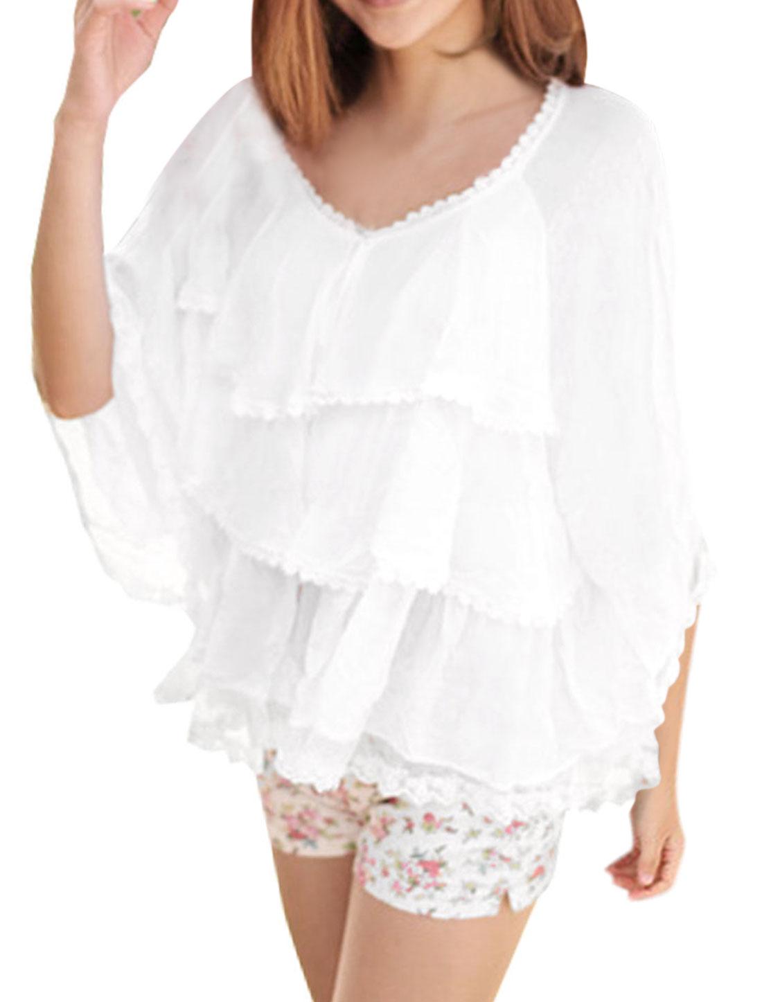 White Cap Sleeve Guipure Accent Multi Layers Shrug Bolero for Women XS