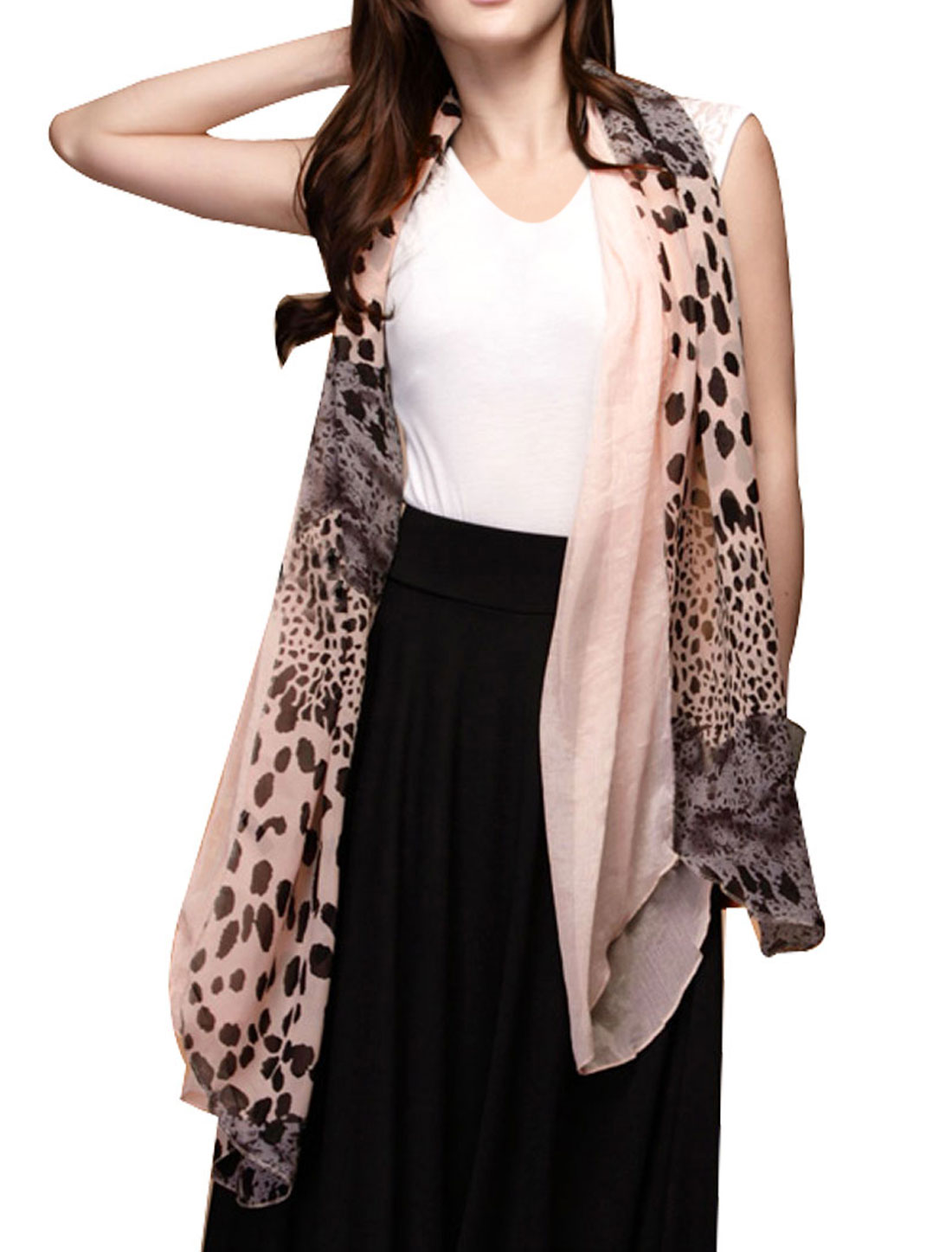 Light Pink Leopard Pattern Color Contrast Long Scarf Shawl Ornament for Ladies