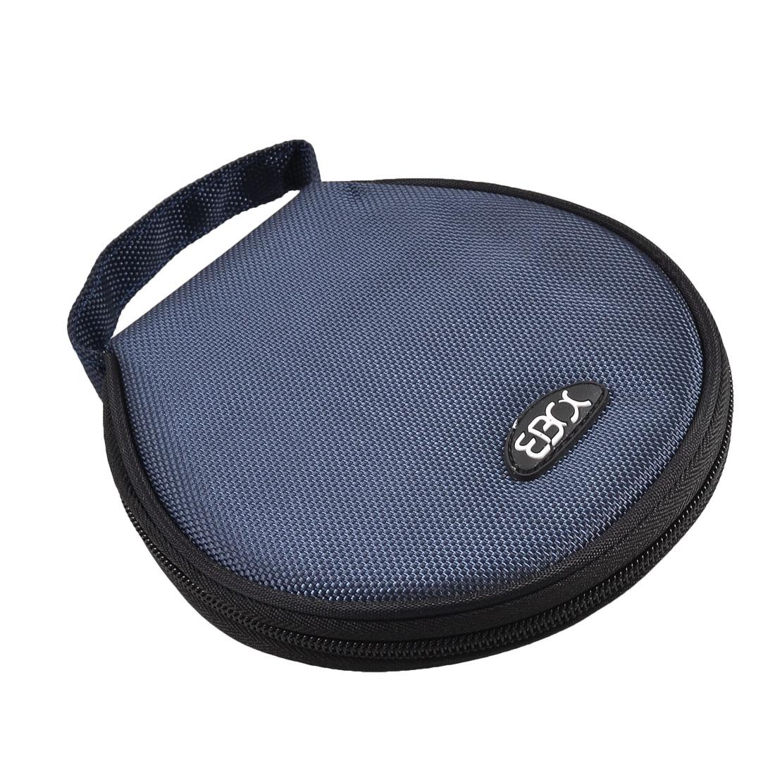 Blue Black Nylon Hand Carry Round CD Holder Bag for 20 CD Discs