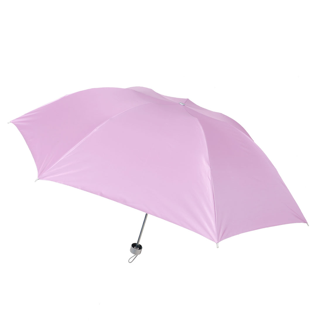 Plastic Grip 3 Sections Telescopic Tube Foldable Pink Umbrella