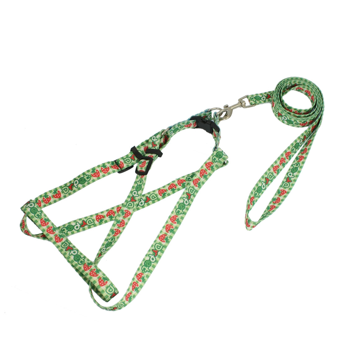 Strawberry Print Doggie Rope Adjustable Dog Harness Halter Leash Set 1.1M