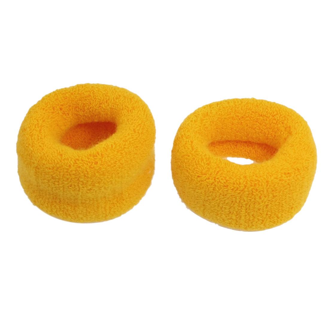 2 Pcs Terry Cloth Stretch Hairband Hair Tie Wrap Ponytail Holder Orange