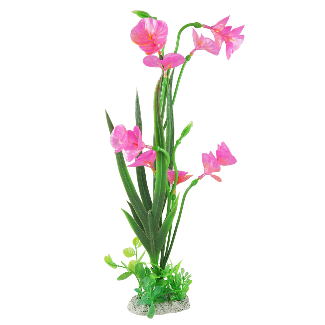 "15.7"" Height Manmade Fuchsia Flower Green Leaf Plants Decoration for Fish Tank"