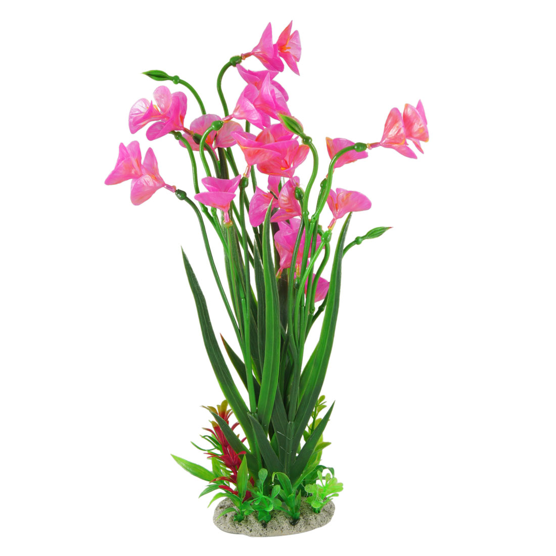 "15.4"" Height Emulational Fuchsia Flower Aquatic Green Plants for Fish Tank"