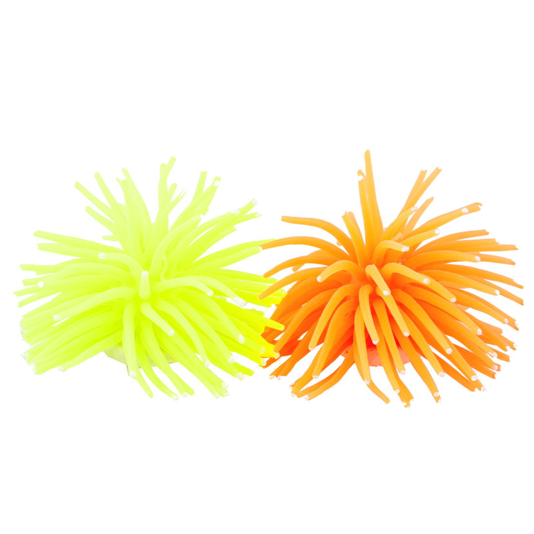Yellowgreen Orange Artificial Silicone Coral Shaped Decoration for Fish Tank 2 Pcs