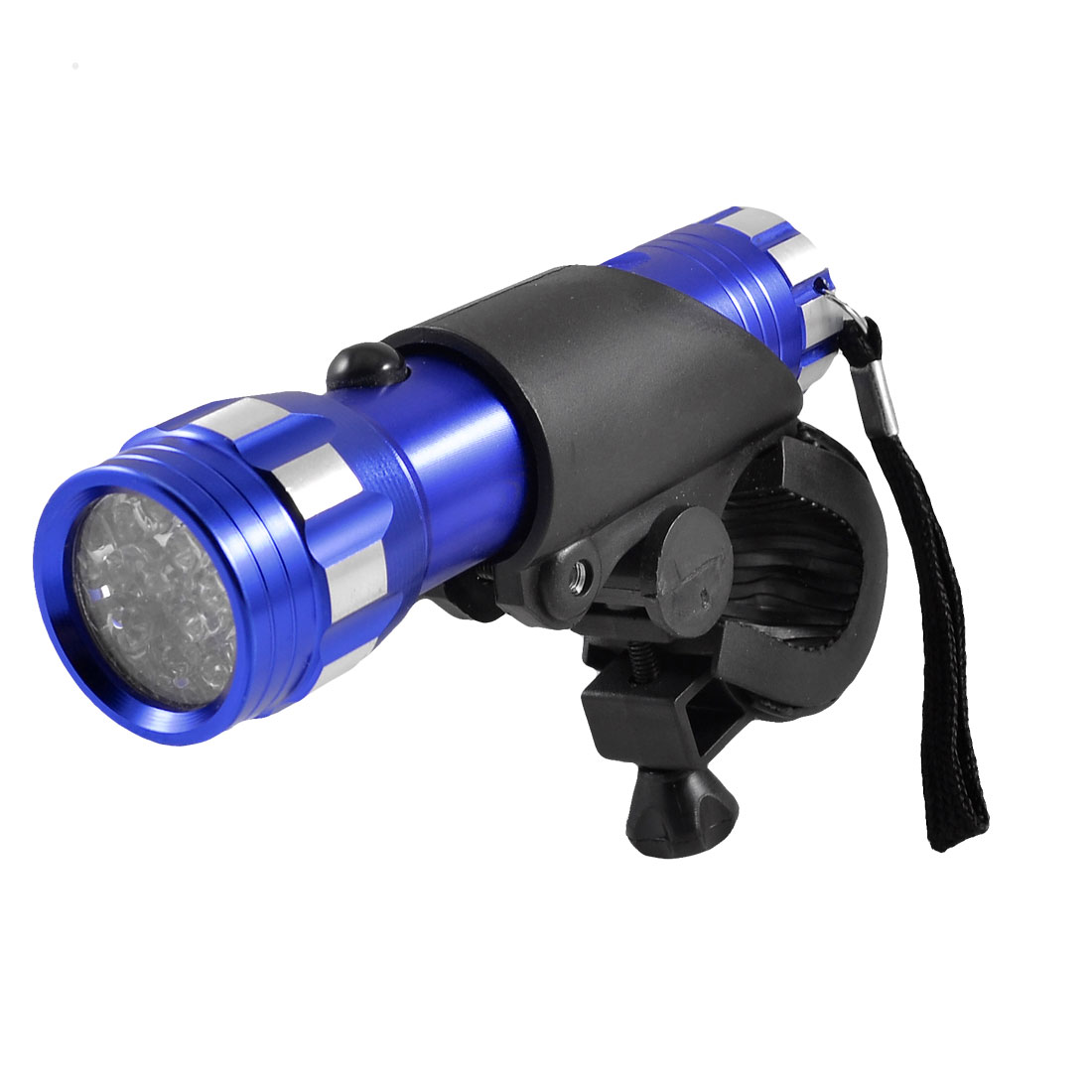 Blue Silver Tone Aluminum 14 LEDs Flashlight Torch for Bike