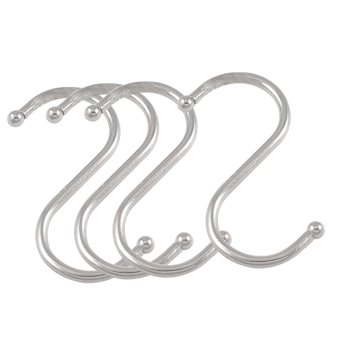 4 Pcs S Shaped Silver Tone Metal Hanging Hooks Pothooks for 2.4cm Dia Pipe