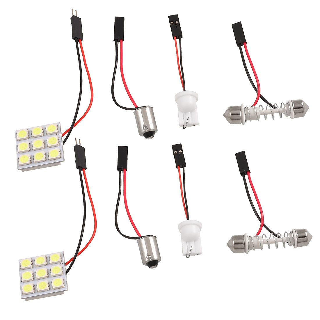 2 Pcs Car White 5050 SMD 9-LED Light Dome Lamp Panel w T10 BA9S Festoon Adapter