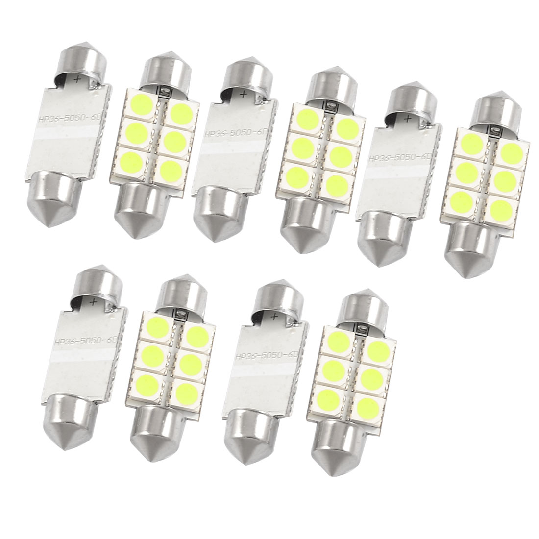 10 Pcs 36mm 5050 SMD 6 LED Festoon Dome Light White 6418 Bulbs