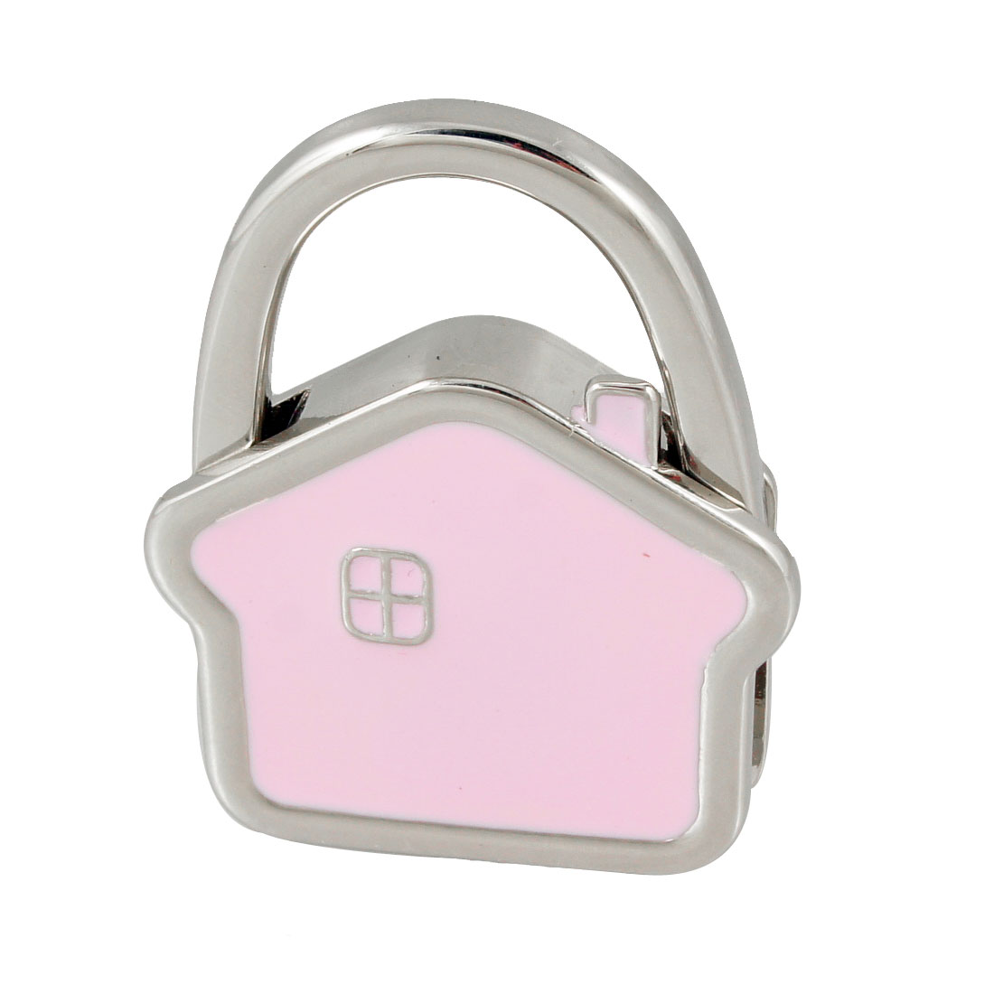 Silver Tone Pink Metal House Design Base Foldable Handbag Purse Hanger