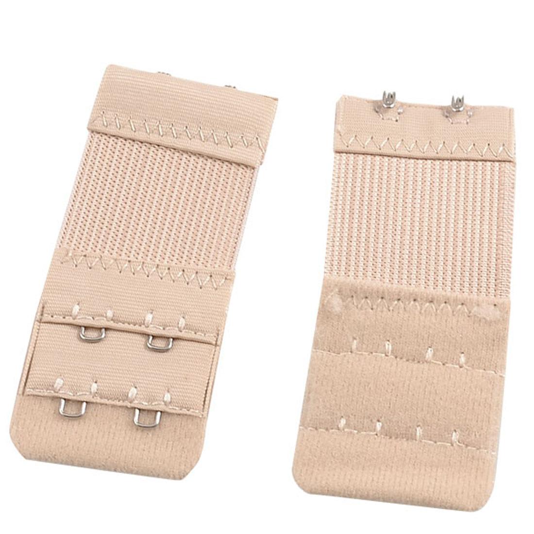 Ladies Underwear 2 Rows Hooks Stretchy Bra Strap Extender Beige 3 Pcs