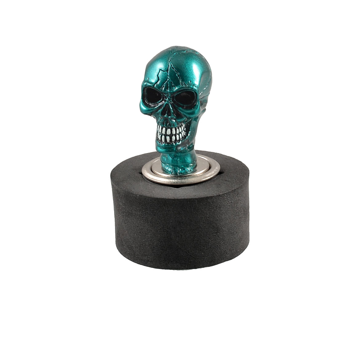 Auto Car Green Silver Tone Skull Head Design Cigarette Lighter Plug DC 12V