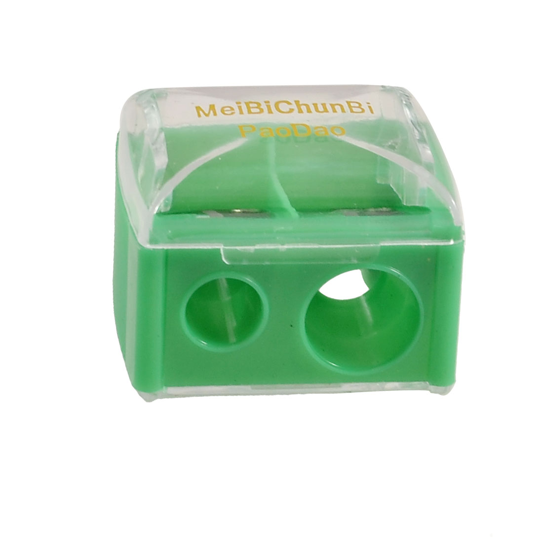 Green Clear Plastic Shell Double Holes Eyeliner Eyebrow Pencil Sharpener